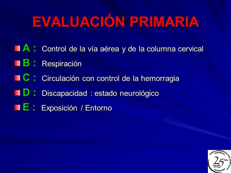 EVALUACIÓN PRIMARIA A : Control de la vía aérea y de la columna cervical. B : Respiración. C : Circulación con control de la hemorragia.
