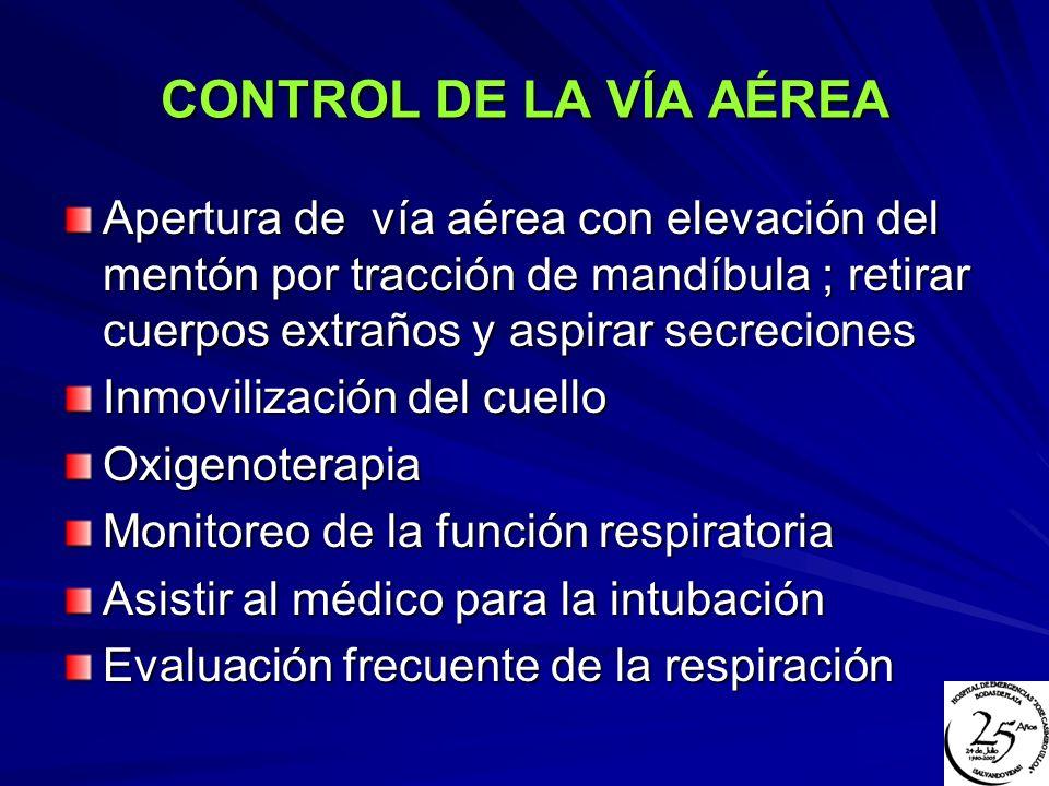 CONTROL DE LA VÍA AÉREA Apertura de vía aérea con elevación del mentón por tracción de mandíbula ; retirar cuerpos extraños y aspirar secreciones.