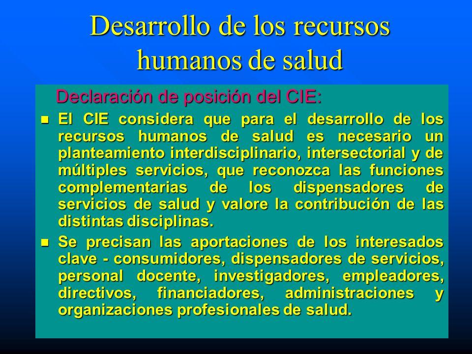 Desarrollo de los recursos humanos de salud