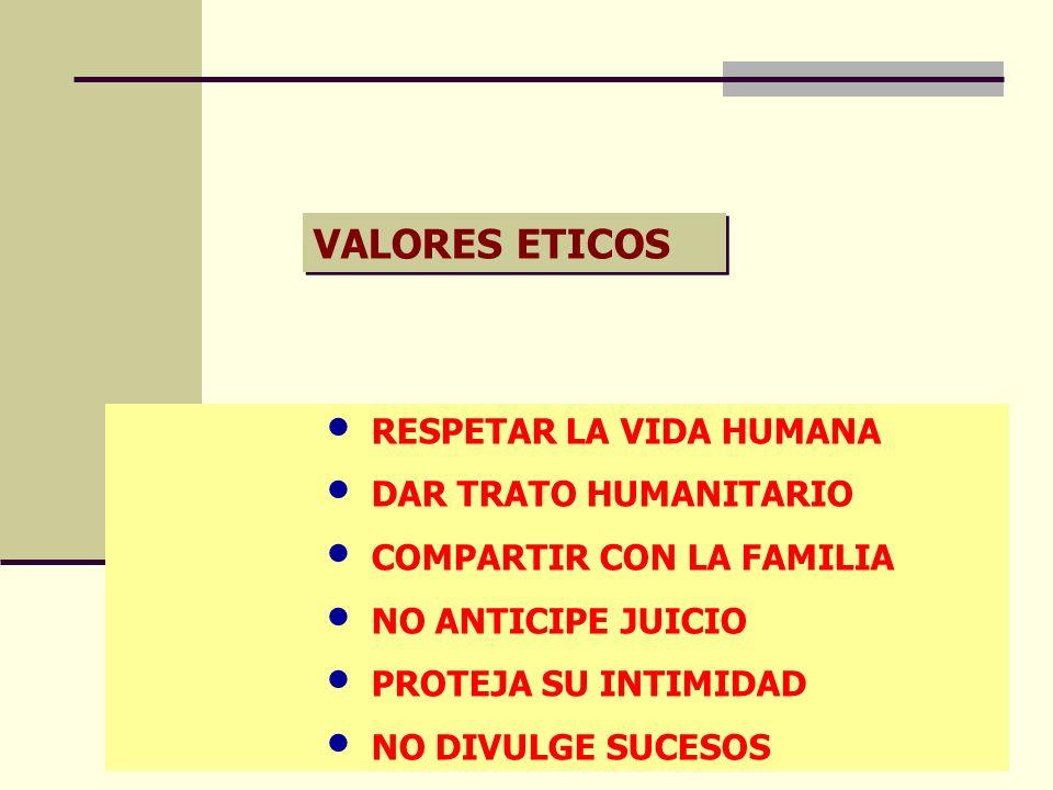 VALORES ETICOS RESPETAR LA VIDA HUMANA DAR TRATO HUMANITARIO