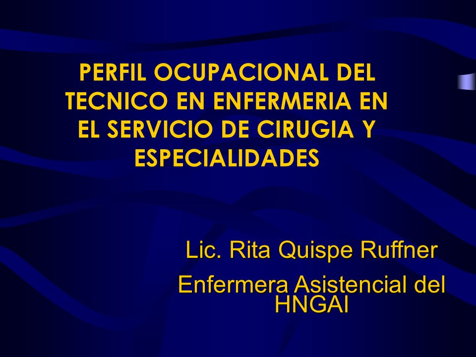 Lic. Rita Quispe Ruffner Enfermera Asistencial del HNGAI
