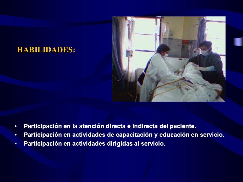HABILIDADES:Participación en la atención directa e indirecta del paciente. Participación en actividades de capacitación y educación en servicio.