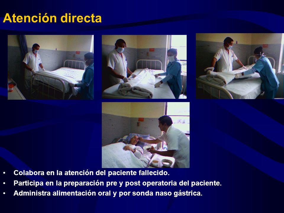 Atención directa Colabora en la atención del paciente fallecido.