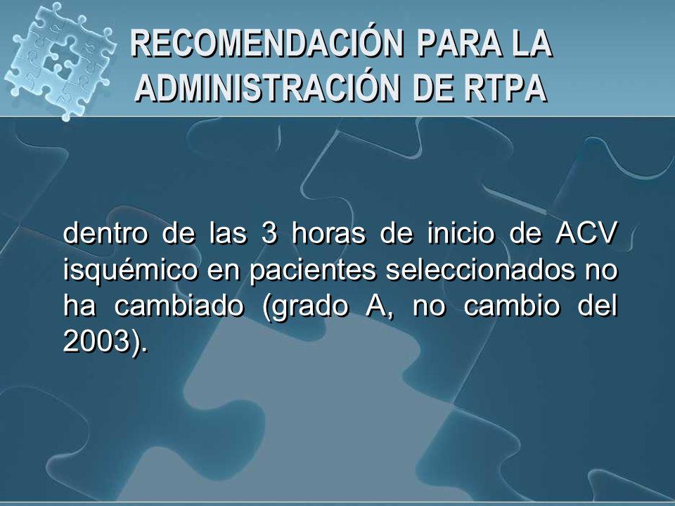 RECOMENDACIÓN PARA LA ADMINISTRACIÓN DE RTPA