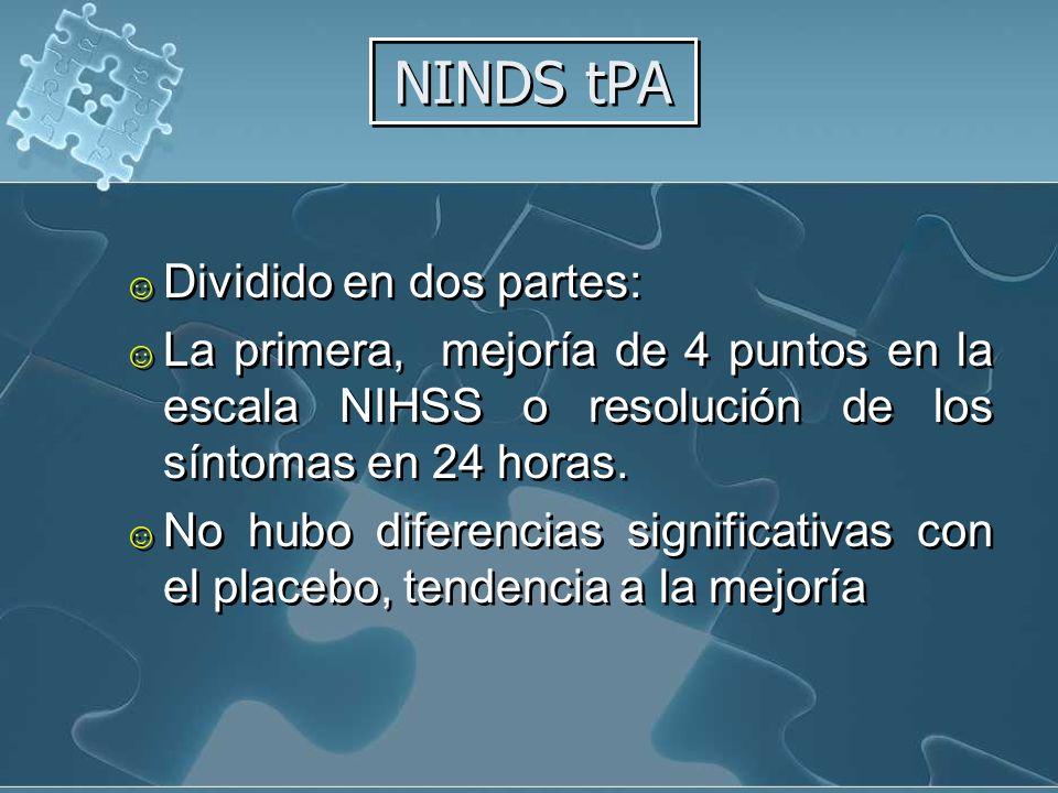 NINDS tPA Dividido en dos partes: