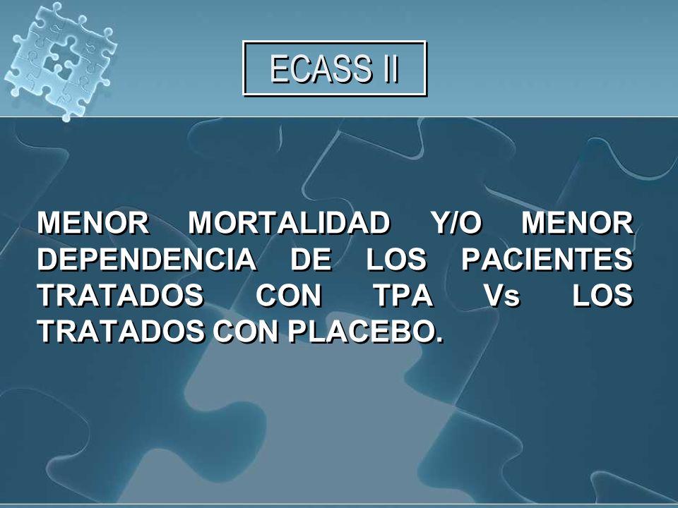 ECASS II MENOR MORTALIDAD Y/O MENOR DEPENDENCIA DE LOS PACIENTES TRATADOS CON TPA Vs LOS TRATADOS CON PLACEBO.