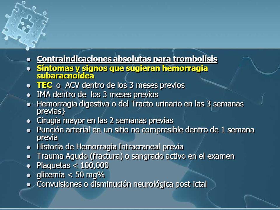 Contraindicaciones absolutas para trombolisis