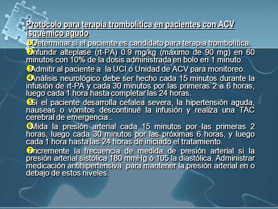 Protocolo para terapia trombolítica en pacientes con ACV isquémico agudo
