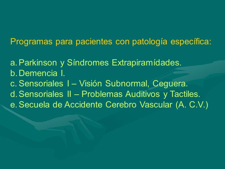 Programas para pacientes con patología específica: