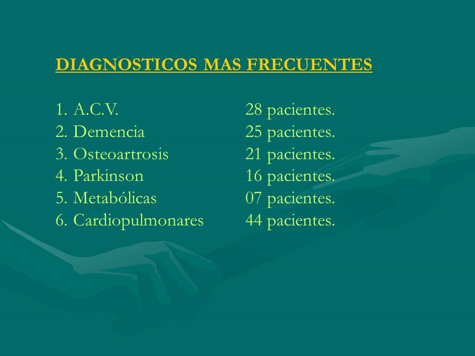 DIAGNOSTICOS MAS FRECUENTES