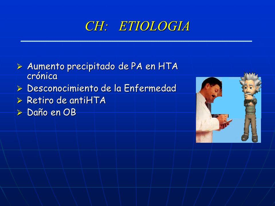 CH: ETIOLOGIA Aumento precipitado de PA en HTA crónica