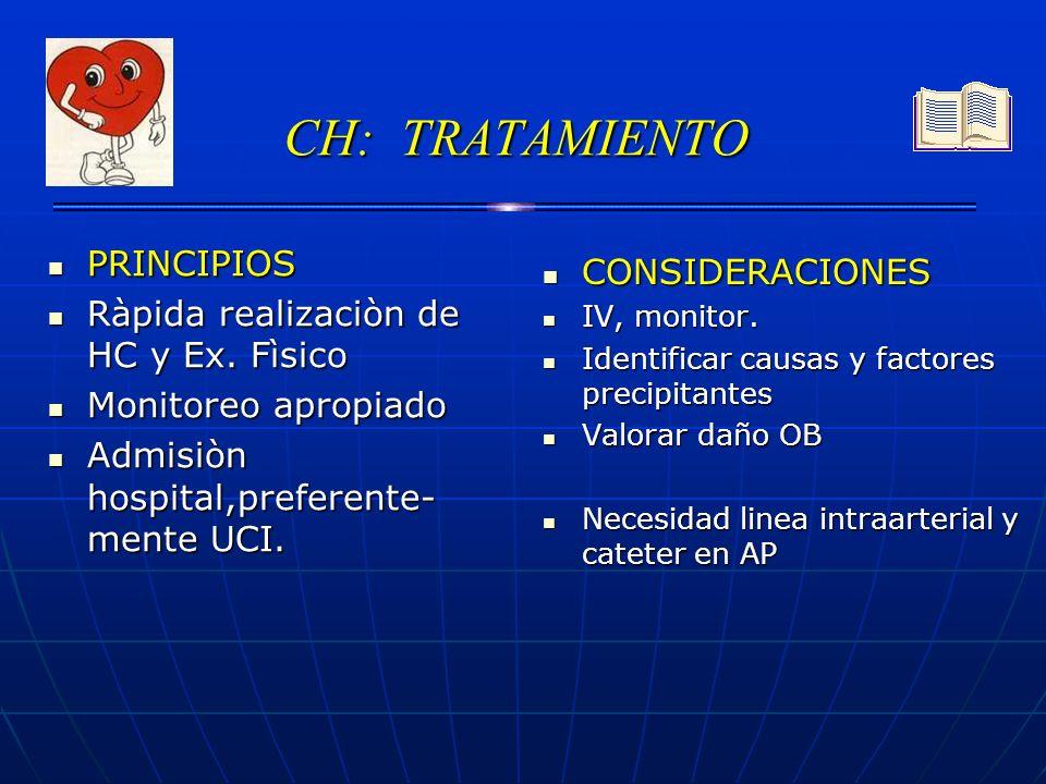 CH: TRATAMIENTO PRINCIPIOS CONSIDERACIONES