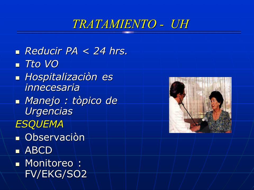 TRATAMIENTO - UH Reducir PA < 24 hrs. Tto VO