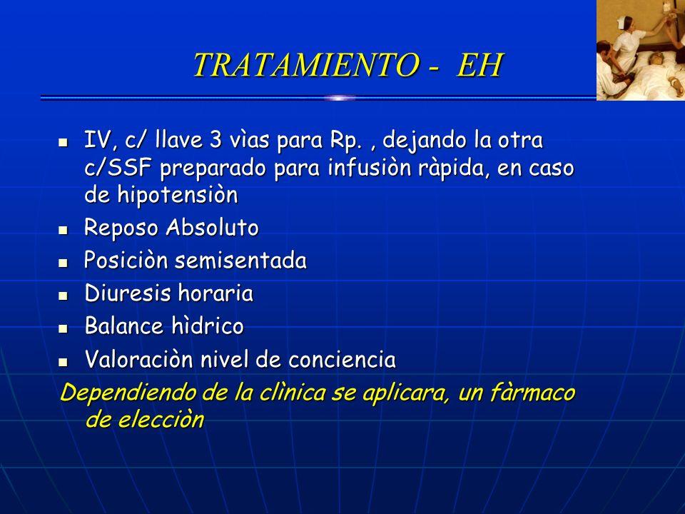 TRATAMIENTO - EHIV, c/ llave 3 vìas para Rp. , dejando la otra c/SSF preparado para infusiòn ràpida, en caso de hipotensiòn.
