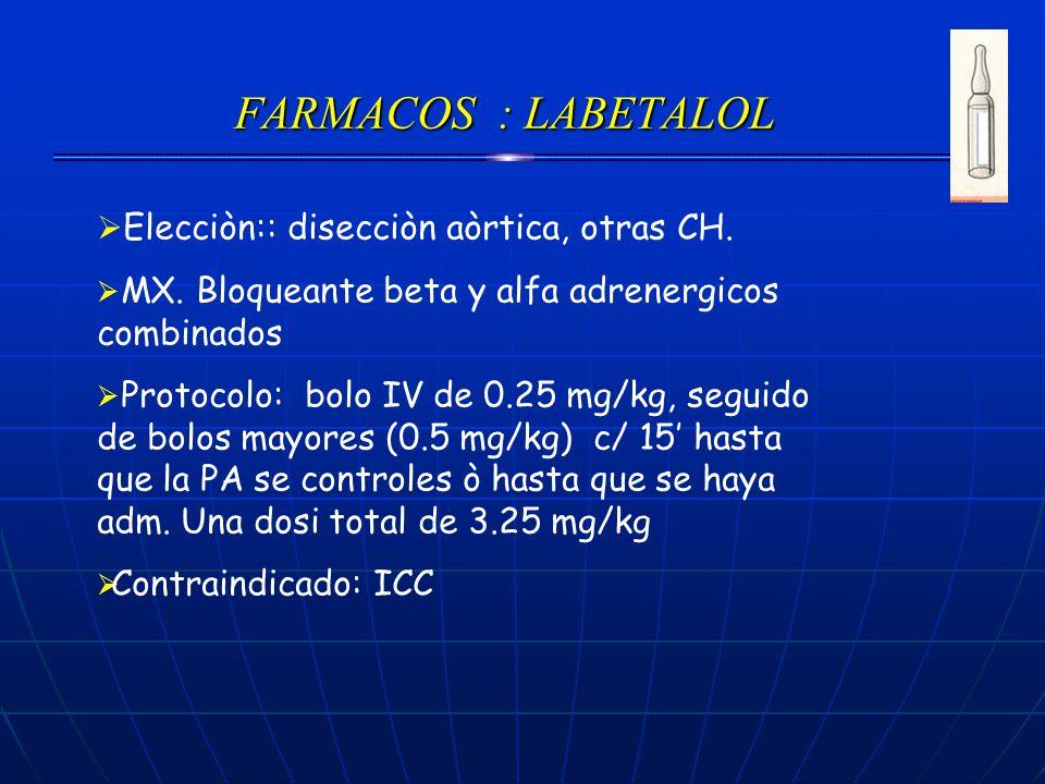 FARMACOS : LABETALOL Elecciòn:: disecciòn aòrtica, otras CH.
