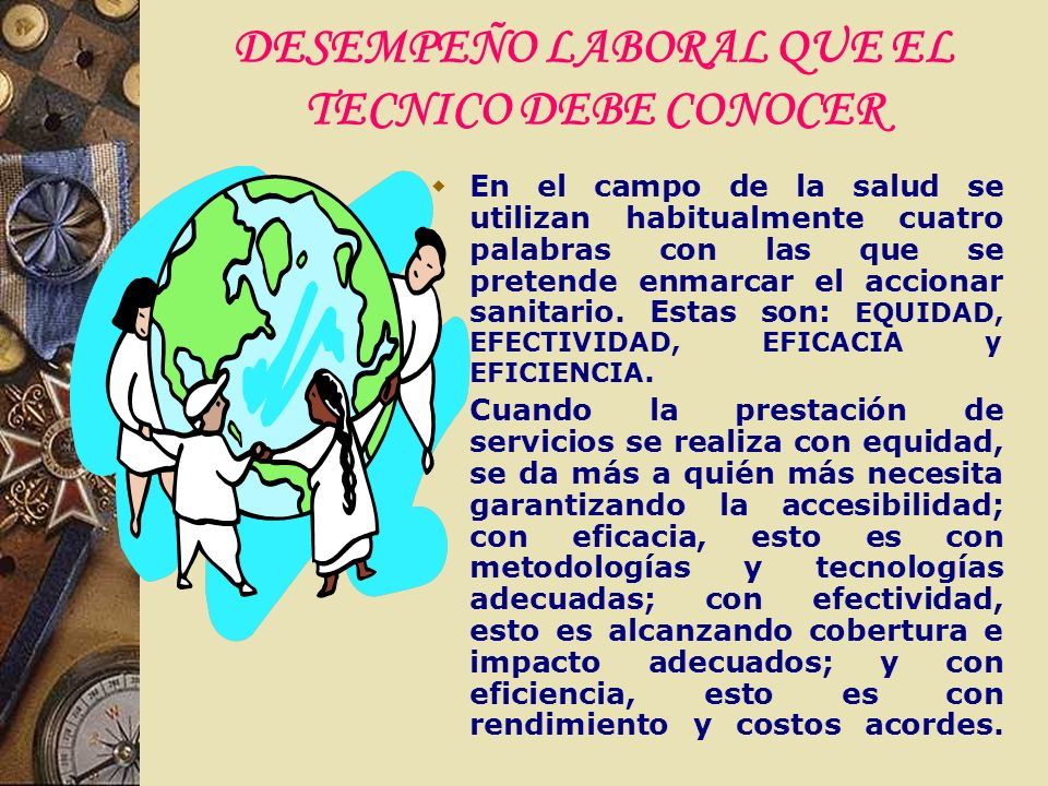 DESEMPEÑO LABORAL QUE EL TECNICO DEBE CONOCER