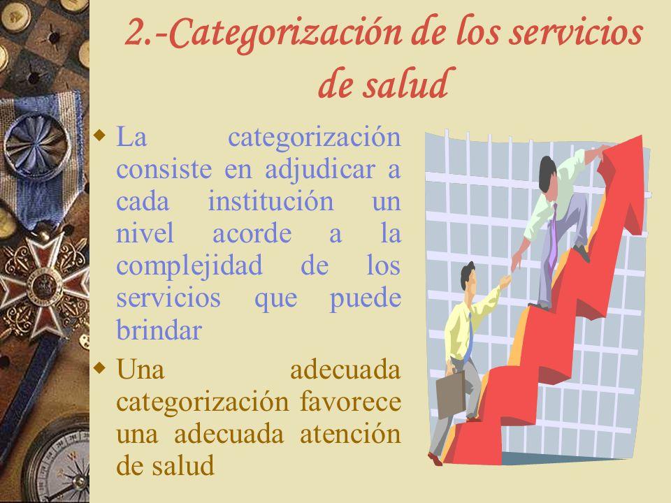 2.-Categorización de los servicios de salud