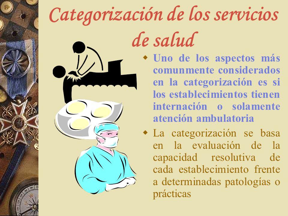 Categorización de los servicios de salud