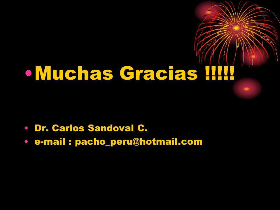 Muchas Gracias !!!!! Dr. Carlos Sandoval C.