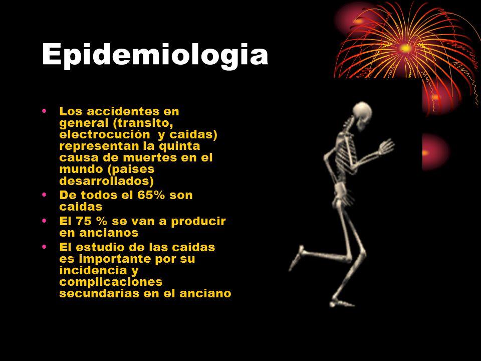 Epidemiologia Los accidentes en general (transito, electrocución y caidas) representan la quinta causa de muertes en el mundo (paises desarrollados)