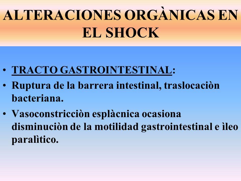 ALTERACIONES ORGÀNICAS EN EL SHOCK