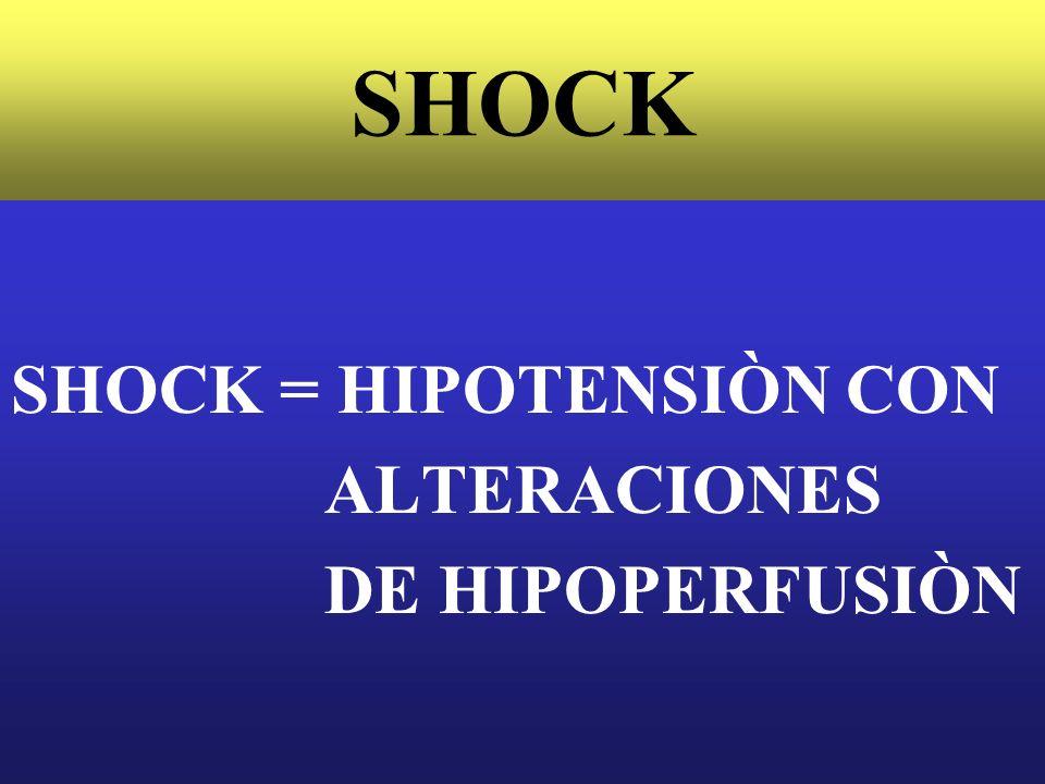 SHOCK SHOCK = HIPOTENSIÒN CON ALTERACIONES DE HIPOPERFUSIÒN