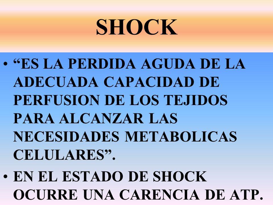 SHOCK ES LA PERDIDA AGUDA DE LA ADECUADA CAPACIDAD DE PERFUSION DE LOS TEJIDOS PARA ALCANZAR LAS NECESIDADES METABOLICAS CELULARES .
