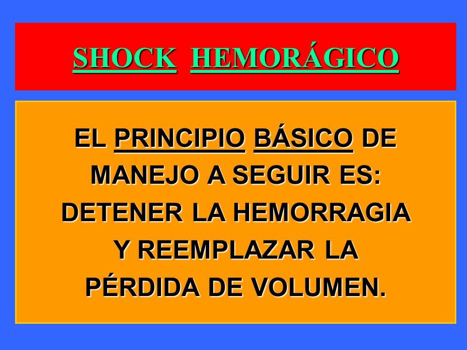 SHOCK HEMORÁGICO EL PRINCIPIO BÁSICO DE MANEJO A SEGUIR ES:
