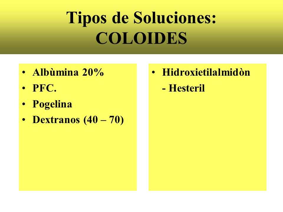 Tipos de Soluciones: COLOIDES