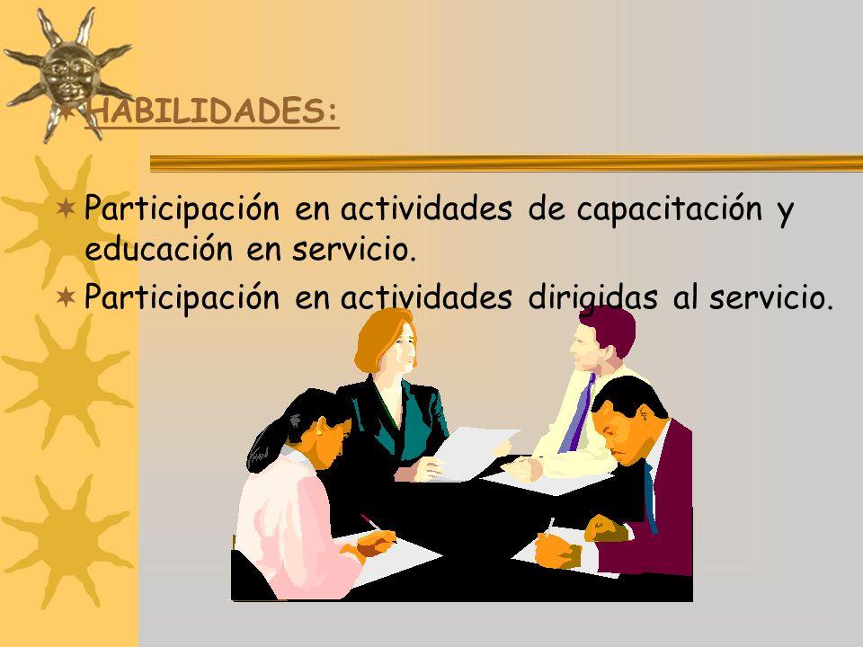 HABILIDADES: Participación en actividades de capacitación y educación en servicio.
