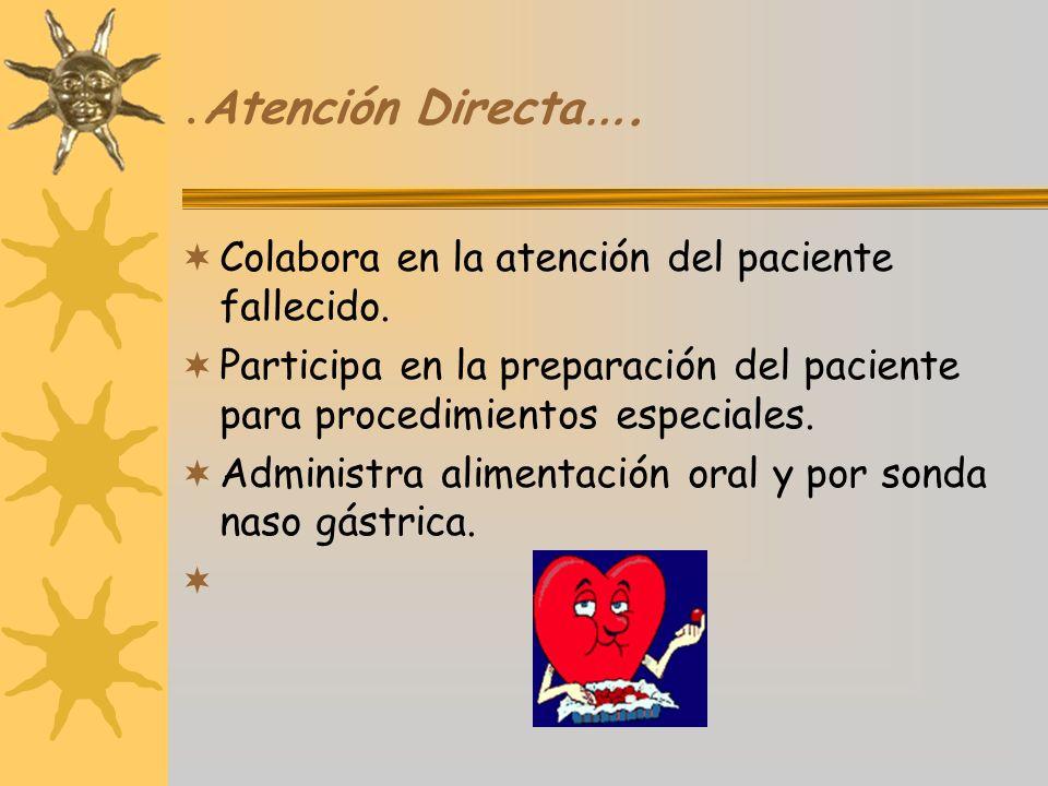 .Atención Directa…. Colabora en la atención del paciente fallecido.