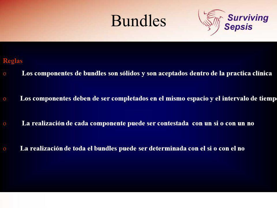 Bundles Reglas. Los componentes de bundles son sólidos y son aceptados dentro de la practica clínica.