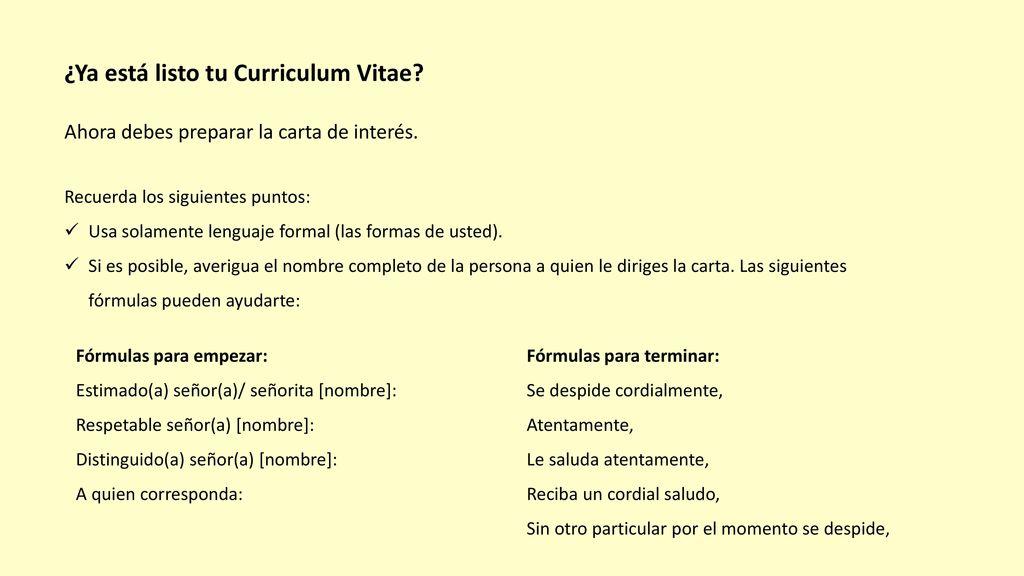 El Curriculum Vitae + la carta de interés. - ppt descargar
