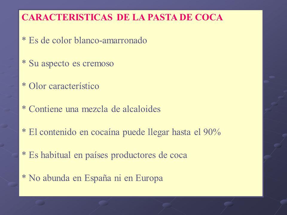 CARACTERISTICAS DE LA PASTA DE COCA