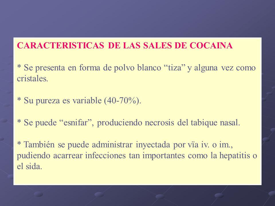 CARACTERISTICAS DE LAS SALES DE COCAINA