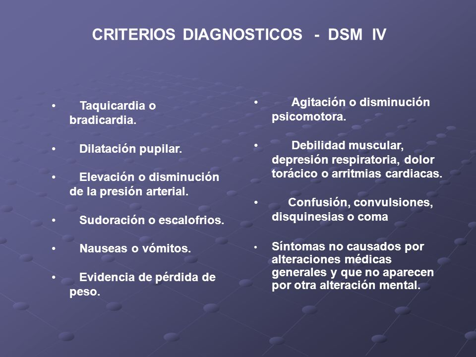 CRITERIOS DIAGNOSTICOS - DSM IV