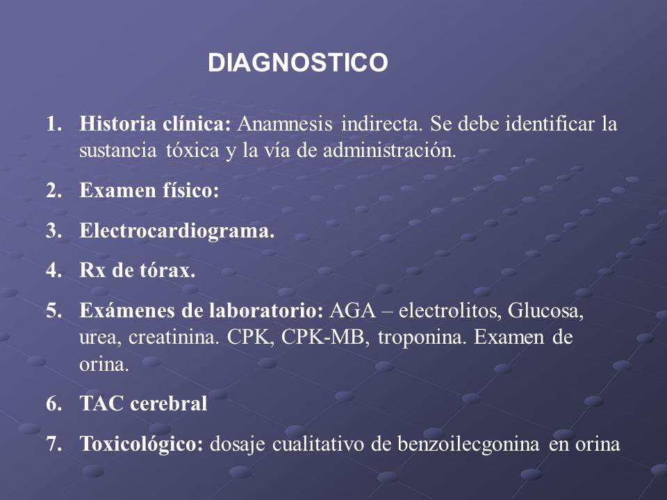 DIAGNOSTICO Historia clínica: Anamnesis indirecta. Se debe identificar la sustancia tóxica y la vía de administración.