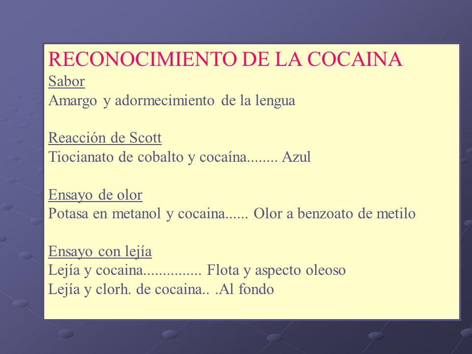 RECONOCIMIENTO DE LA COCAINA