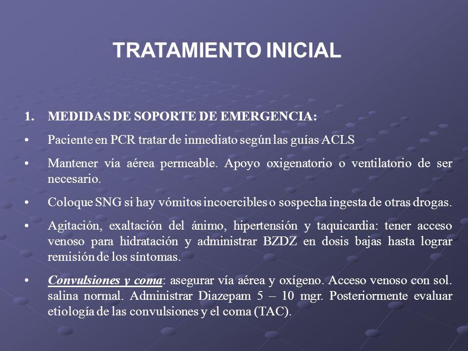 TRATAMIENTO INICIAL MEDIDAS DE SOPORTE DE EMERGENCIA: