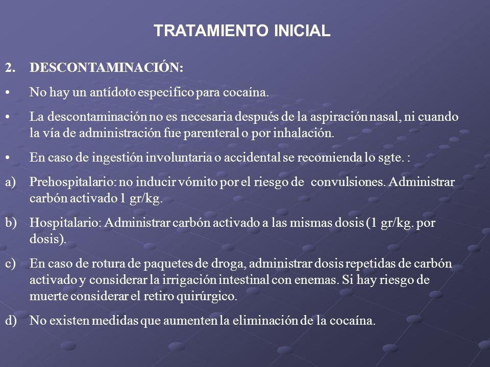 TRATAMIENTO INICIAL DESCONTAMINACIÓN: