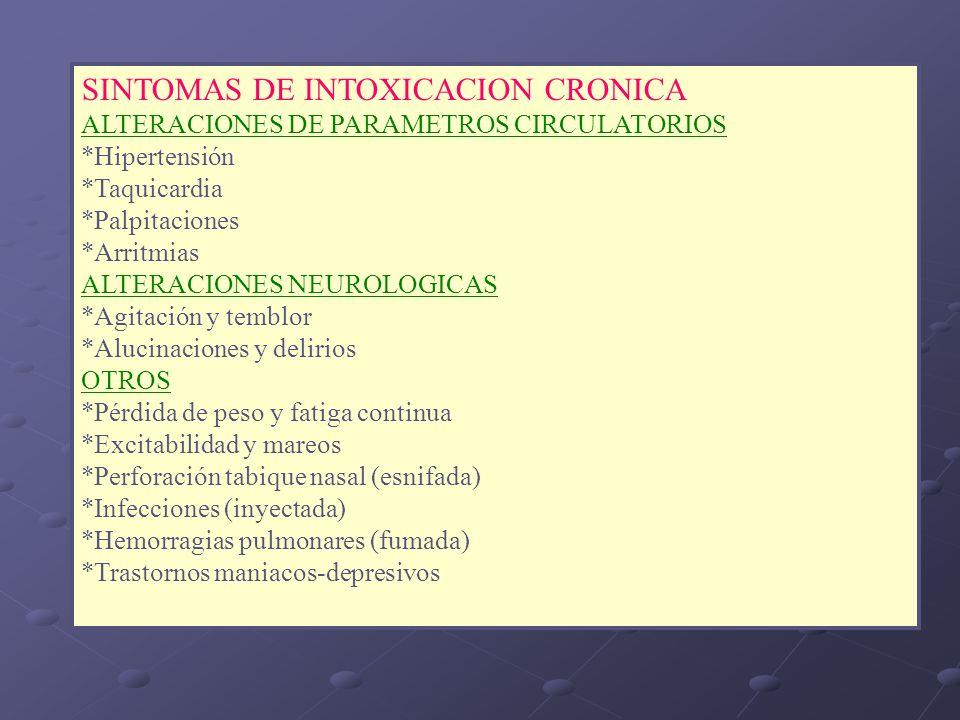 SINTOMAS DE INTOXICACION CRONICA
