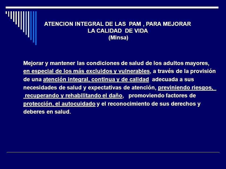 ATENCION INTEGRAL DE LAS PAM , PARA MEJORAR