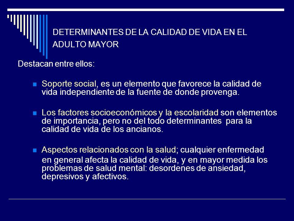 DETERMINANTES DE LA CALIDAD DE VIDA EN EL ADULTO MAYOR