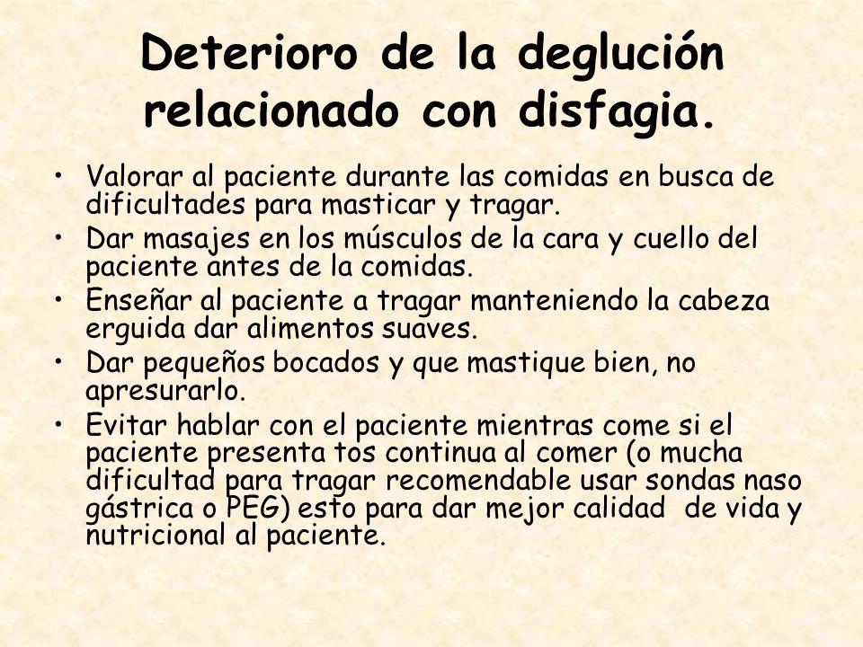 Deterioro de la deglución relacionado con disfagia.