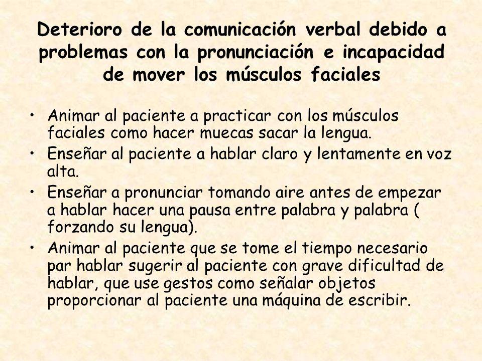 Deterioro de la comunicación verbal debido a problemas con la pronunciación e incapacidad de mover los músculos faciales