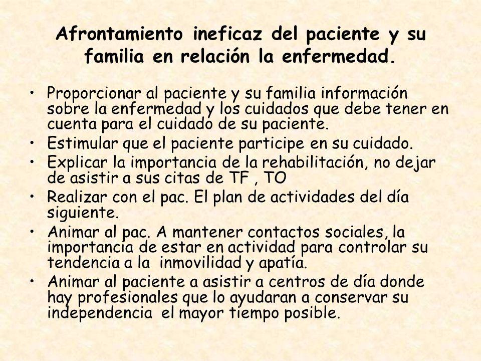 Afrontamiento ineficaz del paciente y su familia en relación la enfermedad.