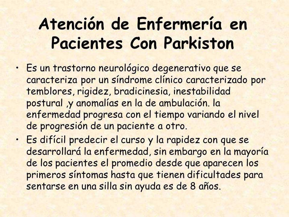 Atención de Enfermería en Pacientes Con Parkiston