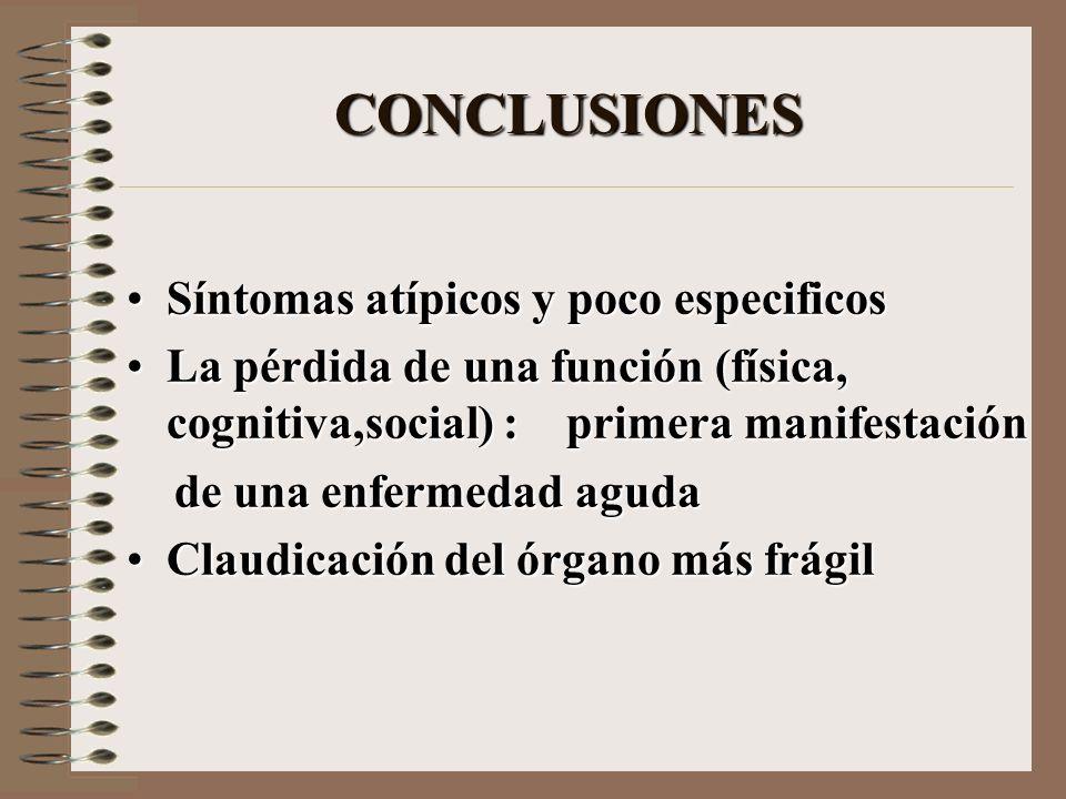 CONCLUSIONES Síntomas atípicos y poco especificos