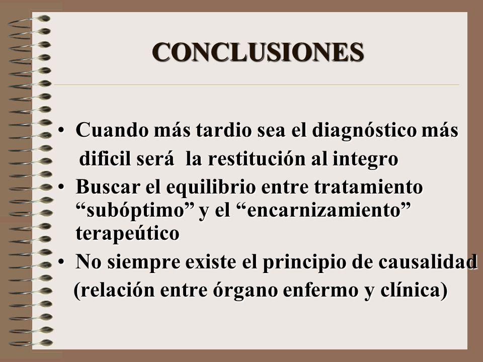 CONCLUSIONES Cuando más tardio sea el diagnóstico más