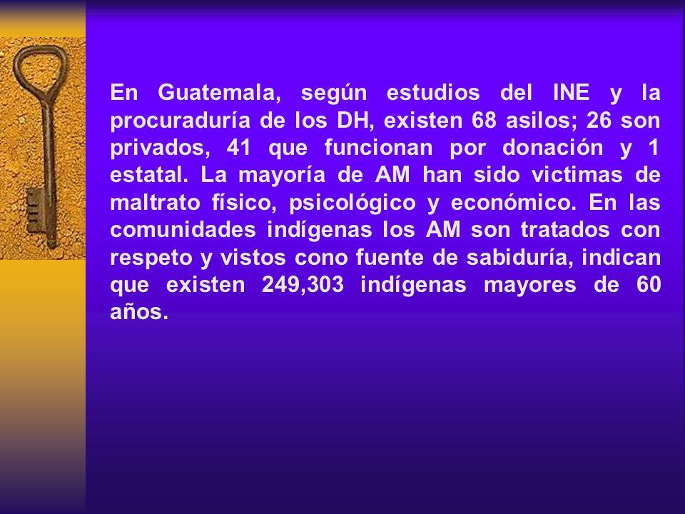 En Guatemala, según estudios del INE y la procuraduría de los DH, existen 68 asilos; 26 son privados, 41 que funcionan por donación y 1 estatal.